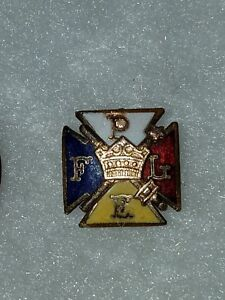 Gold filled ENAMEL PYTHIAN SISTERS PLEF PURITY LOVE EQUALITY FIDELITY LAPEL PIN