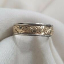 mens 14k two tone yellow white gold 6 mm engraved design wedding band size 8