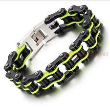 Awesome Gift Men's Bracelet Motorcycle Bike Chain Stainless Steel Black Green