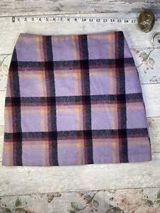 Tu Wool Tartan Lilac Orange mini Skirt size 10 short fitted Tweed Feel Check Vgc