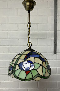 Tiffany style hanging pendant stained glass Blue Bird ceiling light shade (2)