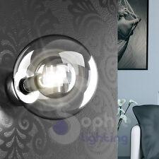 Applique lampada muro parete design moderno sfera vetro acciaio cromo soggiorno