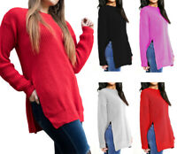 Women's Long Sleeve Side Split Chunky Knit Oversized Baggy Jumper Crew Neck Size