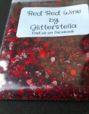 Nail Art Mixed Glitter ( Red Red Wine) 10g Bag Chunky Holographic Red Sparkles