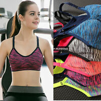 Girls Yoga Fitness Stretch Workout Tank Top Seamless Racerback Padded Sports Bra