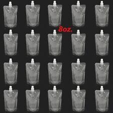 20PCS 250ML 8Oz Bladder Bags Plastic Spout Alcohol Flask Pouch Leak Proof w/ Cap