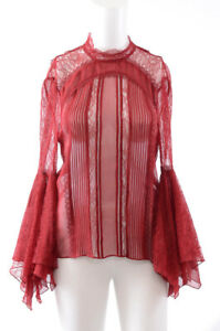 Alice+Olivia bordeaux red 4 S floral lace handkerchief blouse shirt top NEW $440