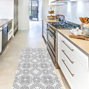 MOSAIC SICILY Vinyl Kitchen FLOOR MAT GREY, 100cm x 147cm Vinil Digit