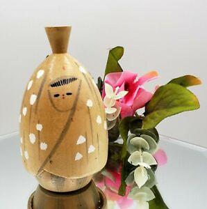"Vintage Japanese KOKESHI Doll Painted Wooden Japan Straw Hut Scene 3.25"" Signed"