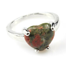 Unqiue Natural Anyolite Gemstone 925 Silver Plated Men Women Ring Size 10