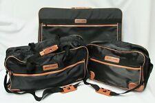 Classic Pierre Cardin 3 piece Black Nylon Luggage Set Suitcase & 2 bags