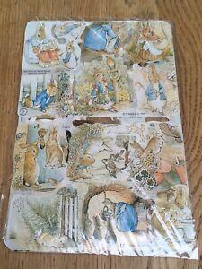 Beatrix Potter Peter Rabbit 4 sheets Scraps RARE Warne & Co 1990 Sealed