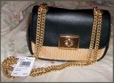 Coach Natural Straw Black Leather Mini Cassidy Crossbody Bag 72709