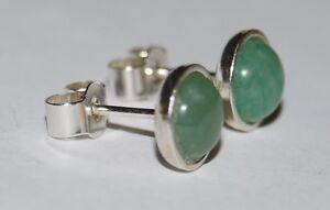 Aventurine 6mm Cabochon Gemstones In Sterling Silver 925 Bezel Ear Studs.