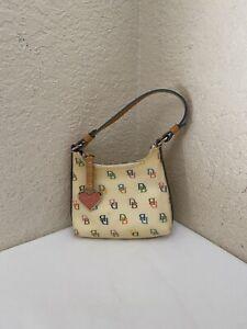 Dooney & Bourke DB Multi Coated Canvas PVC Tan Leather Mini Wristlet Hobo Purse