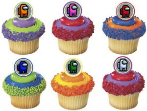 24 AMONG US Rings cupcake toppers - birthday party favor cake RINGS