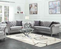 Modern Luxe Glam Living Room 2-Piece Sofa Set Couch & Loveseat, Silver Velvet