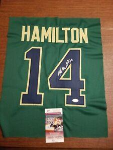 Kyle Hamilton Signed Autographed Green Jersey Swatch  Notre Dame Irish JSA Wit