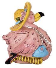 """Blue Sky Ceramic """"Miss Precious Flamingo"""" Tropical Beach Decor Cookie Jar Nwt"""