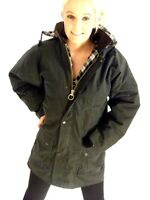 New Oilskin Wax Cotton Olive Green Padded Jacket With