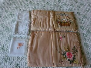 LOT of  ANTIQUE FRENCH SILK HANDKERCHIEF POUCH WITH 3 ANTIQUE HANDKERCHIEFS