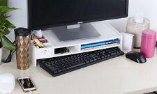 LARGE Laptop Computer Desktop Monitor Screen Riser Rack TV LCD Stand Wood Plinth