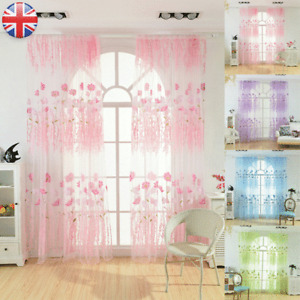 Voile Curtains Pair (2 Panels) Of Lucy Floral Net Slot Top Panels -Top Quality