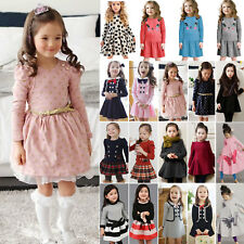 Kids Girls Long Sleeve Princess Dress Winter Casual Skater Swing Dresses Age 7Y