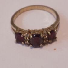 Ladies Retro Costume Jewellery Large Ring Gold Tone Faux Garnets / Diamond  (90)