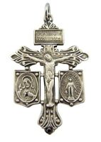 """Sterling Silver Pardon Crucifix with Jesus Scapular and Miraculuos Medals 1 3/8"""""""