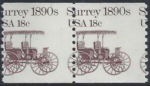 "1907 - 18c Misperf Error / EFO Pair ""Surrey"" ""Transportation Series"" MNH (Stk11)"
