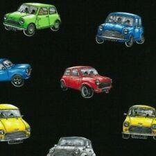 Fat Quarter Magic Minis Mini Car Cotton Quilting Fabric Vehicle British Motorcar