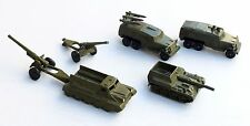 Vintage Set 6 Soviet Military Machine Tin BTR Tank Truck Artillery Russian Toys