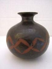 """omc japan vase ceramic brown native american design 4 1/2"""" x 4"""" O M C"""