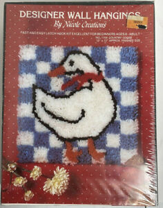 Latch Hook Kit by Nicole Creations #1709 Country Goose 1986 Vintage New Sealed