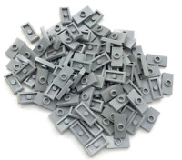 Lego Lot of 100 New Light Bluish Gray Plates Modified 1 x 2 with 1 Stud Parts