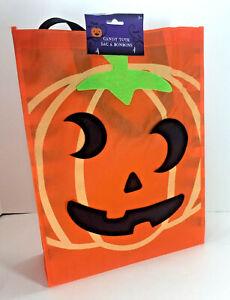 NEW Jack-O-Lantern PUMPKIN ORANGE Reusable TOTE Halloween Candy Treat GIFT BAG