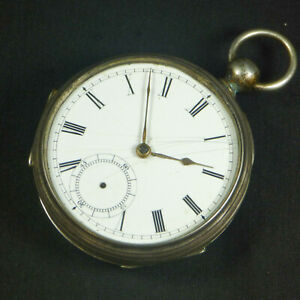 1882 American Waltham Broadway Pocket Watch Antique Coin Silver Case Sterling