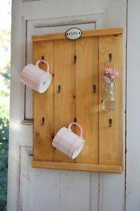 Landhaus Tassenregal Cups CELIA Wandboard Tassenhalter Handgefertigt Shabby Chic