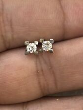 Natural Diamond Stud Earrings in 14k White Gold