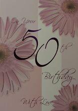 50th Birthday Card  with Cream Envelope