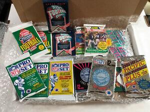 90's NFL Football Cards Gift Box 15x Sealed Packs Fleer, Pro Set, Upper Deck