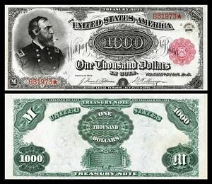 NICE CRISP UNCIRCULATED U.S. 1891 $1,000 TREASURY NOTE COPY!