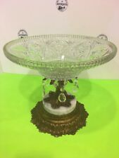 Vtg large 1972 Crystal Tear Drop Fruit Glass Bowl Marble & Brass Tone Metal Base