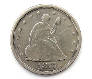 1875 S 20C Twenty Cent Piece SEATED LIBERTY Type San Francisco .900 Silver Coin