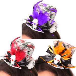 MINI SKULL TOP HAT LADIES HALLOWEEN FANCY DRESS COSTUME FEATHER FASCINATOR CLIP