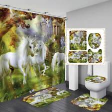 White Horse Unicorn Shower Curtain Bath Mat Toilet Cover Rug Art Bathroom Decor