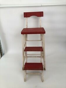 Vintage Painted, Wooden Folding Chair/Step Stool Rustic,Patina, 1930's era.