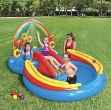 Intex 9.75ft x 6.3ft x 53in Rainbow Ring Center Slide Kids Play Inflatable Pool