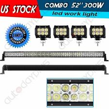 "4x18W 4Inch Lamp Offroad UTE ATV Boat Jeep 12V+52"" 300W LED Work Light Combo Bar"